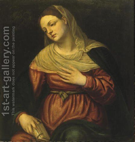 The Virgin contemplating with a book in her hand by (after) Alessandro Bonvicino (Moretto Da Brescia) - Reproduction Oil Painting