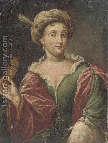 Portrait of a lady, half-length, dressed for Carnival by (after) Alessandro Longhi - Reproduction Oil Painting