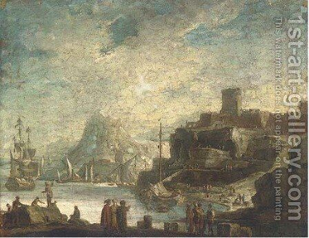 A Mediterranean costal inlet with shipping and stevedores on the shore by (after) Alessandro Magnasco - Reproduction Oil Painting
