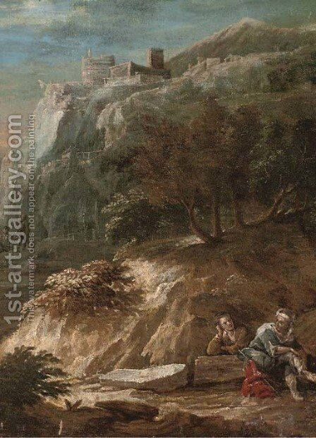 A mountainous landscape with a couple beneath a hilltop town by (after) Alessandro Magnasco - Reproduction Oil Painting