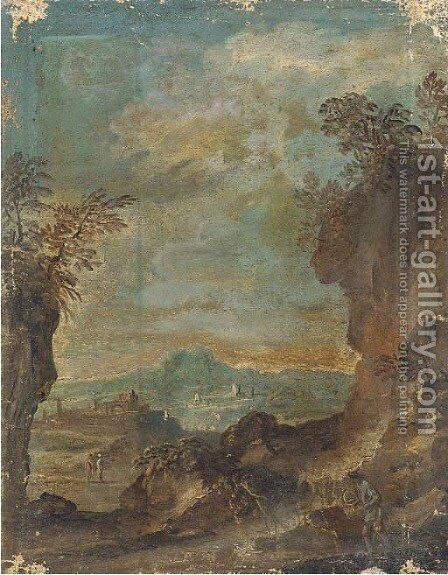 A landscape with travellers on a mountain pass by (after) Alessandro Magnasco - Reproduction Oil Painting