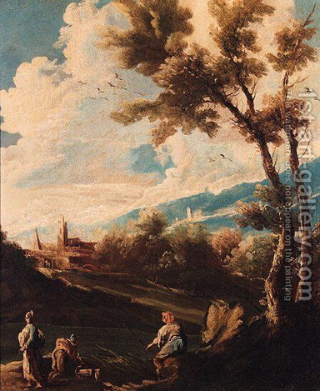 A wooded river landscape with an angler and washerwomen by (after) Alessandro Magnasco - Reproduction Oil Painting
