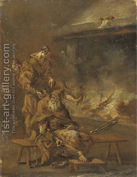 Capuchin friars by a fire by (after) Alessandro Magnasco - Reproduction Oil Painting