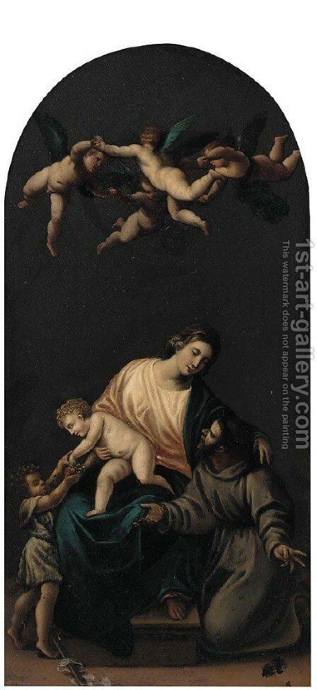 The Holy Family with the Infant Saint John the Baptist, angels above by (after) Alessandro Turchi (Orbetto - Reproduction Oil Painting