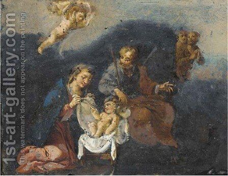 The Holy Family by (after) Alessandro Turchi (Orbetto - Reproduction Oil Painting