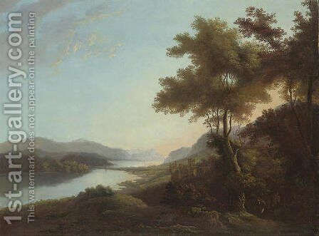 A mountainous wooded river landscape with a figure on a track and a castle beyond by (after) Alexander Nasmyth - Reproduction Oil Painting