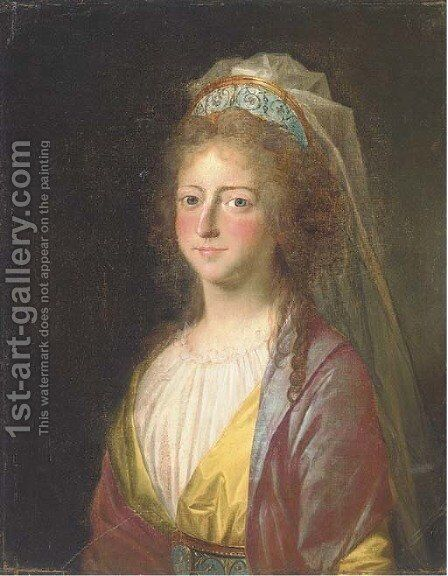 Portrait of a lady by (after) Alexander Roslin - Reproduction Oil Painting