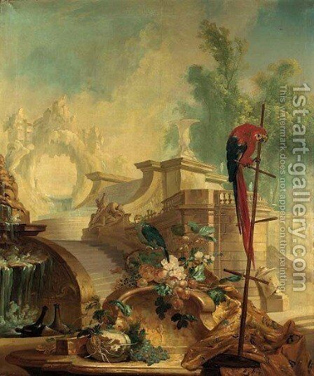 A capriccio of an Italianate garden with parrots, fruit, flowers, bottles of wine and drapery in the foreground by (after) Alexandre-Francois Desportes - Reproduction Oil Painting
