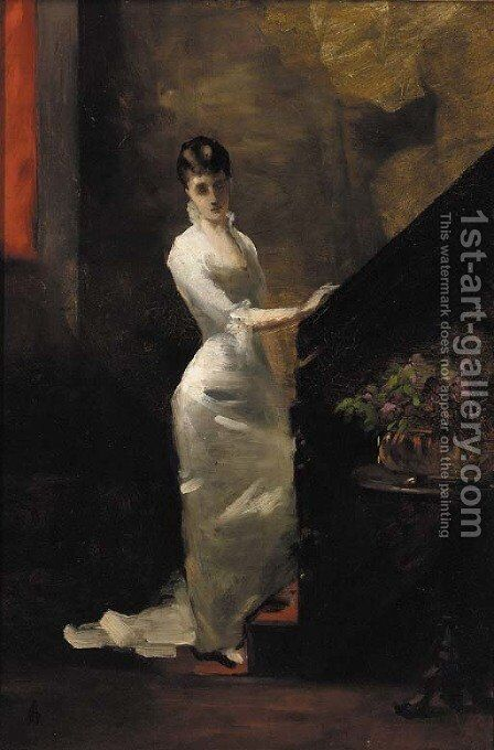 A lady in a white dress at the foot of the stairs by (after) Alfred Stevens - Reproduction Oil Painting