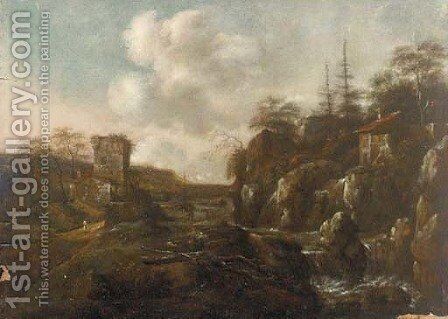 A river landscape with a mill and figures on a path by (after) Allaert Van Everdingen - Reproduction Oil Painting