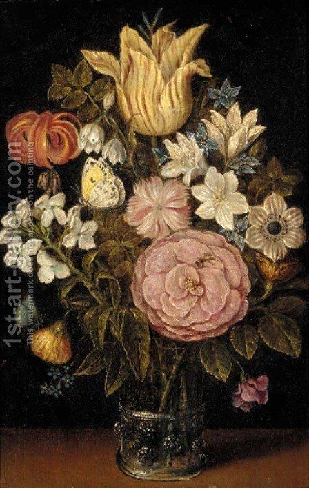 A rose, a tulip, an iris and other flowers in a glass vase, with a butterfly by (after) Ambrosius The Elder Bosschaert - Reproduction Oil Painting
