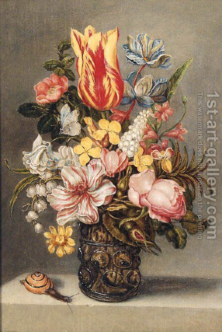 Flowers by (after) Ambrosius The Elder Bosschaert - Reproduction Oil Painting