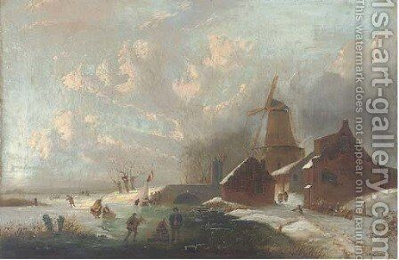 Figures on a frozen waterway by (after) Andreas Schelfhout - Reproduction Oil Painting