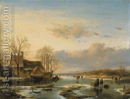On the Maas by (after) Andreas Schelfhout - Reproduction Oil Painting