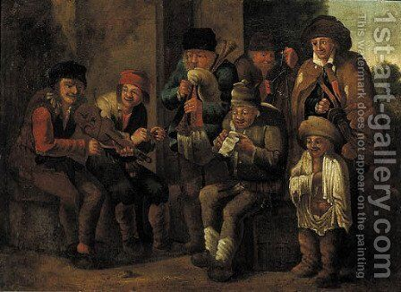 Vagabonds music-making by a stone wall, a landscape beyond by (after) Andries Both - Reproduction Oil Painting