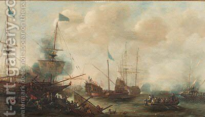 A naval engagement between Turks and Christians by (after) Andries Van Eertvelt - Reproduction Oil Painting