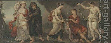 Telemachus and Mentor in Calypso's grotto by (after) Kauffmann, Angelica - Reproduction Oil Painting