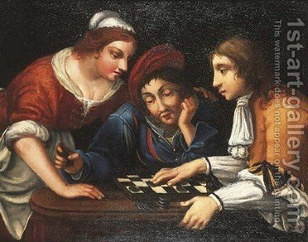 Peasants playing draughts in an interior by (after) Angelo Caroselli - Reproduction Oil Painting