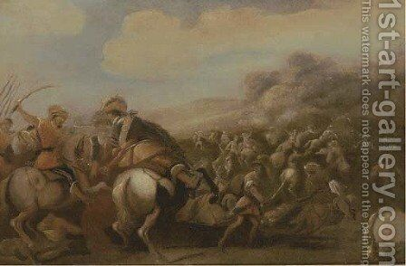 A cavalry skirmish 2 by (after) Aniello Falcone - Reproduction Oil Painting