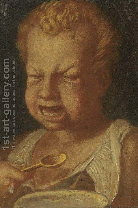A boy feeding by (after) Annibale Carracci - Reproduction Oil Painting