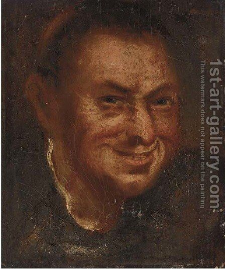 A laughing man, head-and-shoulders by (after) Annibale Carracci - Reproduction Oil Painting