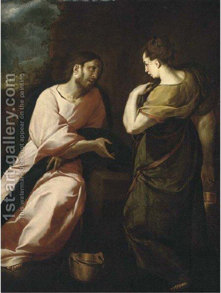 Christ and the Woman of Samaria 2 by (after) Annibale Carracci - Reproduction Oil Painting