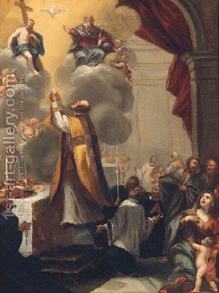 The Mass of Saint Gregory by (after) Annibale Carracci - Reproduction Oil Painting