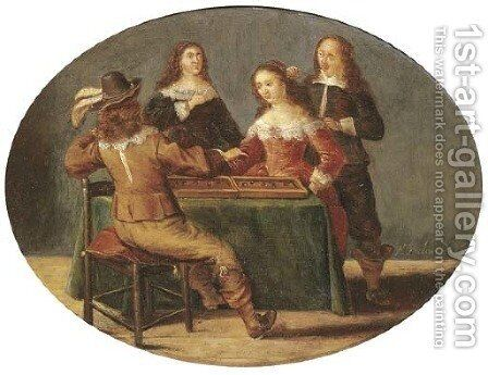 Elegant company playing tric-trac in an interior by (after) Anthonie Palamedesz. (Stevaerts, Stevens) - Reproduction Oil Painting