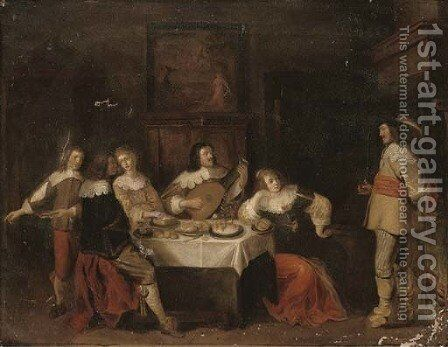 Elegant company eating and merrymaking in an interior by (after) Anthonie Palamedesz. (Stevaerts, Stevens) - Reproduction Oil Painting