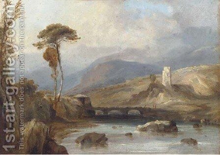 Figures on a bridge, with ruins beyond by (after) Anthony Vandyke Copley Fielding - Reproduction Oil Painting