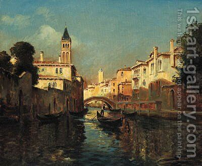 A Venetian Backwater by (after) Antione Bouvard - Reproduction Oil Painting