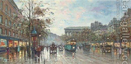 Parisian street scene by (after) Antoine Blanchard - Reproduction Oil Painting