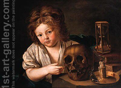 A Vanitas a boy seated at a table with a skull by (after) Antoine Le Nain - Reproduction Oil Painting