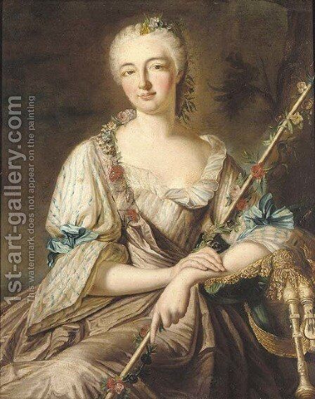 Portrait of a lady by (after) Antoine Pense - Reproduction Oil Painting