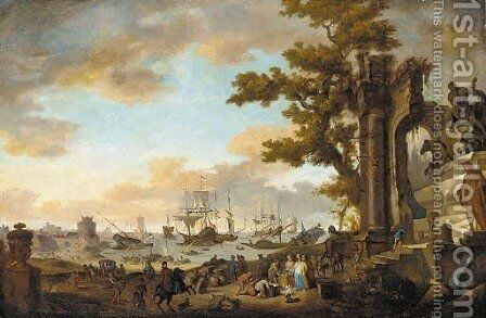 A Mediterranean coastal inlet with merchants by classical ruins by (after) Anthonie Goubau - Reproduction Oil Painting
