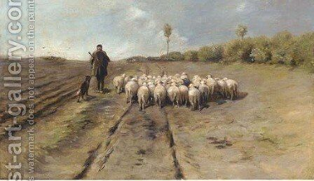 Leading home the flock by (after) Anton Mauve - Reproduction Oil Painting