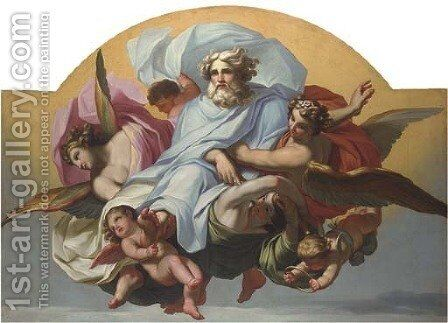 God the Father with angels and cherubs by (after) Mengs, Anton Raphael - Reproduction Oil Painting