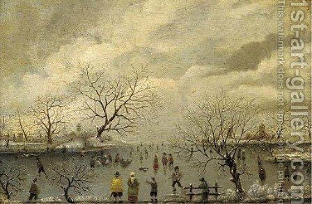 Figures skating in a winter landscape by (after) Antoni Verstralen (van Stralen) - Reproduction Oil Painting
