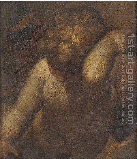 A putto a fragment by (after) Correggio, (Antonio Allegri) - Reproduction Oil Painting
