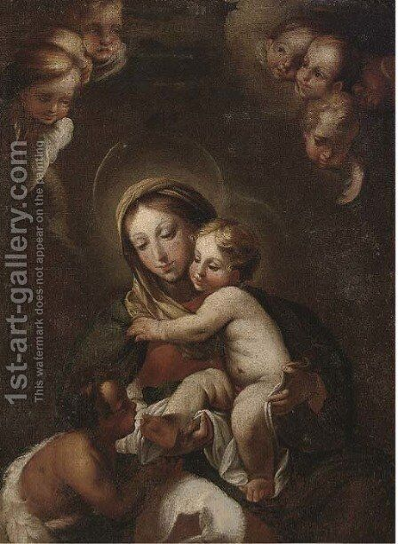 The Madonna and Child with the infant Saint John the Baptist 2 by (after) Correggio, (Antonio Allegri) - Reproduction Oil Painting