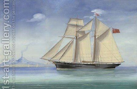 A topsail schooner of the Royal Tay Yacht Club in the Bay of Naples by (after) Antonio De Simone - Reproduction Oil Painting