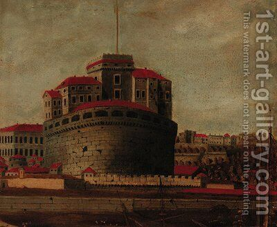 The Castel Sant'Angelo, Rome by (after) Antonio Joli - Reproduction Oil Painting
