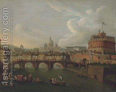 The Tiber, Rome, looking towards the Ponte Sant'Angelo and the Castel Sant'Angelo, Saint Peter's beyond by (after) Antonio Joli - Reproduction Oil Painting