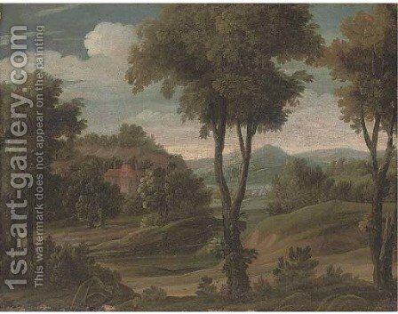 A wooded landscape with a country house by (after) Antonio Tavella, Il Solfarola - Reproduction Oil Painting