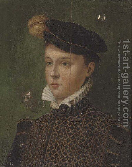Portrait of a boy, half-length, in a black plumed cap and a gold embroidered black doublet by (after) Antonis Mor - Reproduction Oil Painting