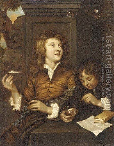 Two boys blowing bubbles from oyster shells by (after) Arnold Boonen - Reproduction Oil Painting