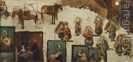 Various studies of figures and animals by (after) Ary Scheffer - Reproduction Oil Painting