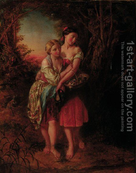 The intrepid flower girls by (after) Augustus Edward Mulready - Reproduction Oil Painting