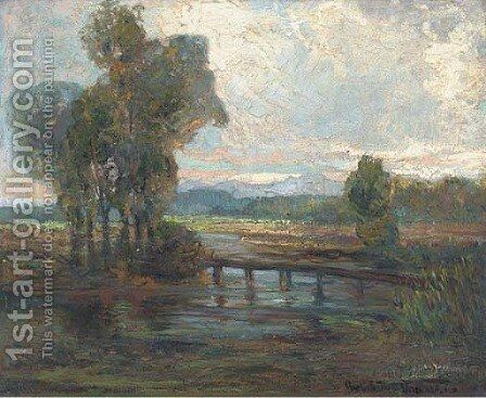 The river crossing, sunset by (after) Augustus William Enness - Reproduction Oil Painting