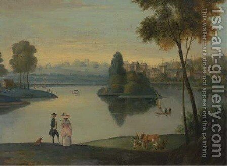 Elegant figures by a boating lake by (after) Balthasar Nebot - Reproduction Oil Painting
